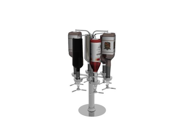 Tabletop iron wine rack 3d rendering