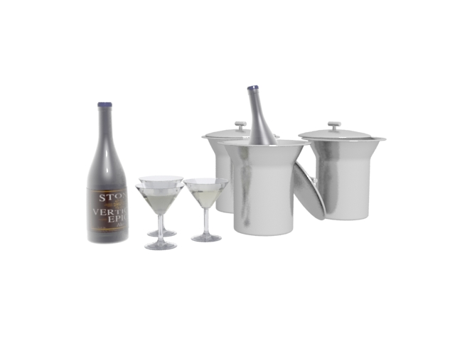 Ice bucket,wine and glass 3d rendering