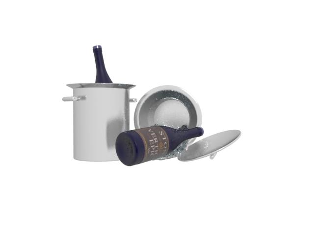 Ice bucket and wine 3d rendering