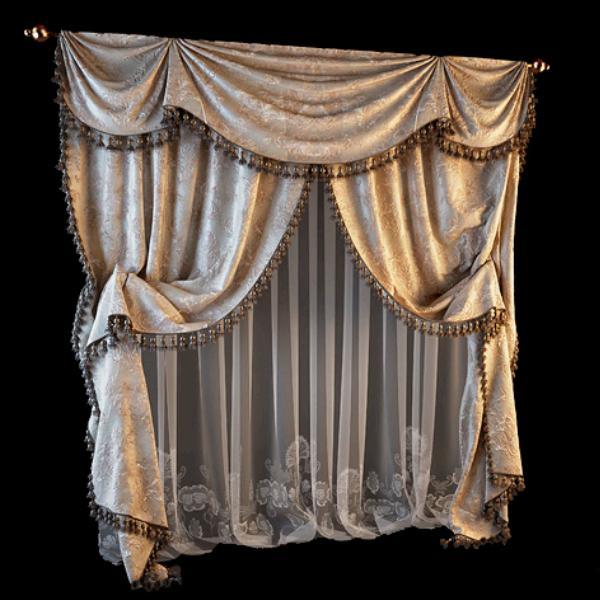 Plush velvet curtains 3d rendering