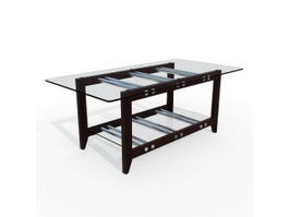 Rectangle glass coffee table 3d preview