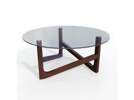 Round glass wooden coffee table 3d preview