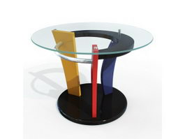 Fancy glass round table 3d preview