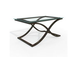 Rectangle tempered glass table 3d preview