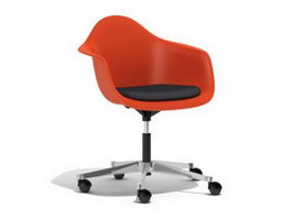 Ray Eames PACC pivot armchair cast base on castors 3d preview