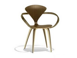 Norman Cherner armchair wood base 3d preview