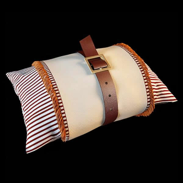 Pillow and leather belt 3d rendering