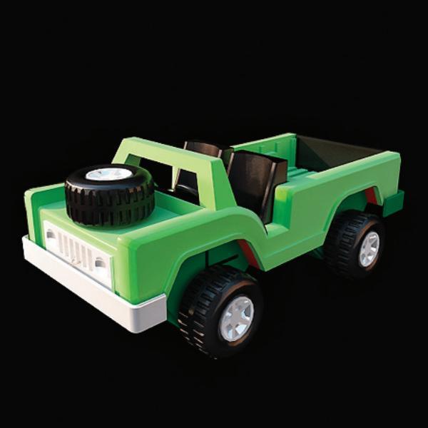 Plastic toy car 3d rendering
