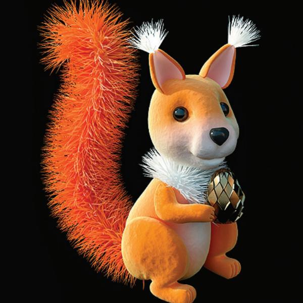 Cute plush toys squirrel belka 3d rendering