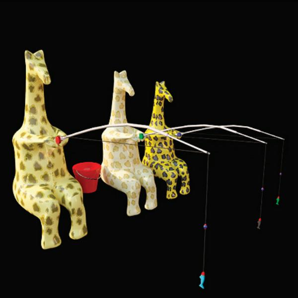 Fishing giraffe toy 3d rendering