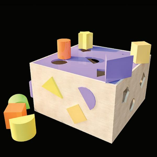 Colorful wooden toy bricks 3d rendering