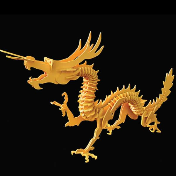 Wooden toy dragon puzzle 3d rendering