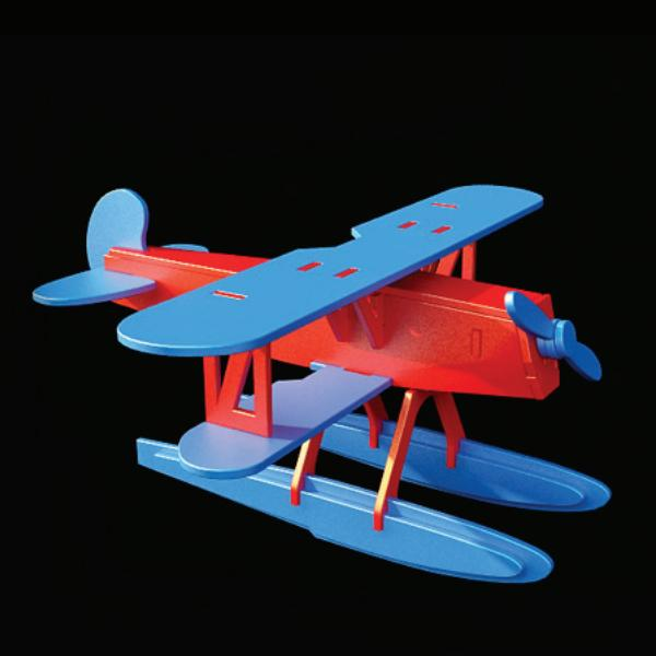 Wooden toy plane Heinkel HE51 3d rendering