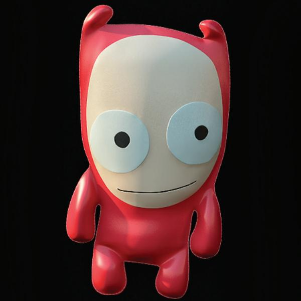 Leather toy ugly doll 3d rendering