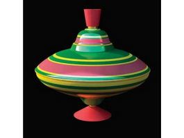 Plastic toy spinning top 3d model preview