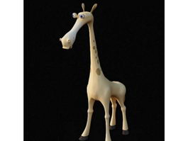 Plush cartoon giraffe toy 3d preview