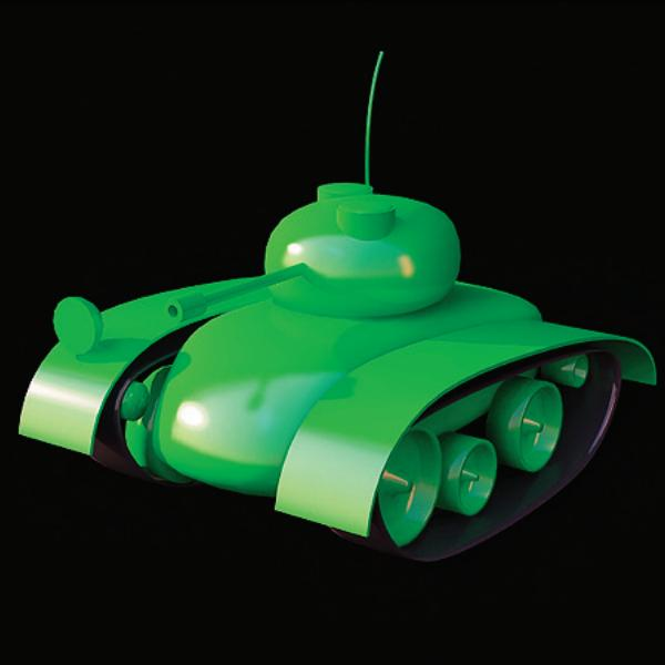 Plastic army toy tank 3d rendering