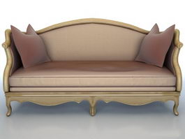 Classic wooden fabric sofa 3d model preview