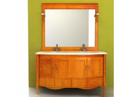 Bathroom vanity double counter sink 3d preview