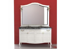 Modern double basin bathroom vanity 3d preview