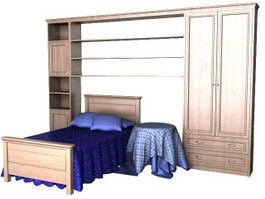 Children bedroom furniture sets 3d model preview