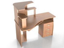 Corner computer tower desk 3d model preview
