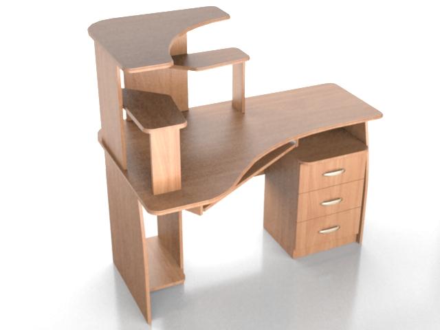 Corner Computer Tower Desk 3d Model, Corner Tower Computer Desk