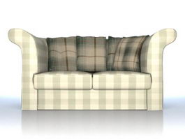 Fabric sofa loveseat 3d model preview