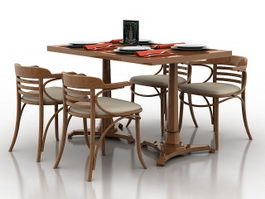 Wooden dining table set 3d model preview