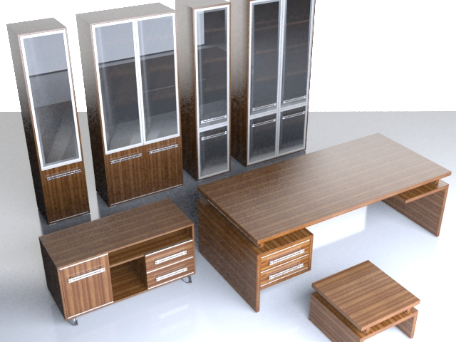 Office furniture set 3d rendering