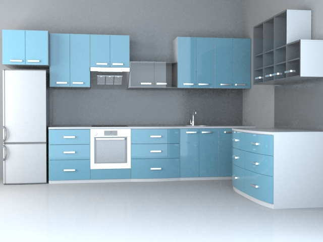 Integrated kitchen 3d rendering