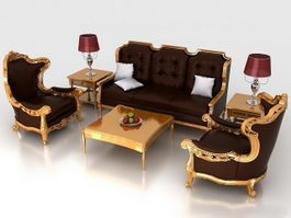 Classic living room furniture sets 3d preview