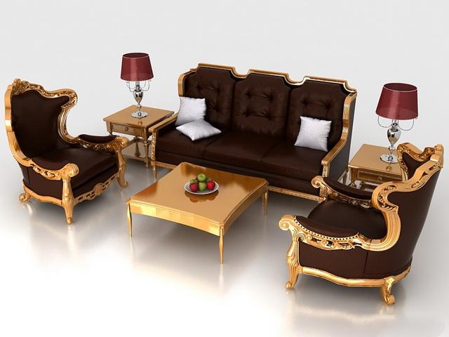 Classic living room furniture sets 3d rendering
