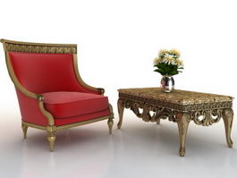 Classic furniture sofa and coffee table 3d preview
