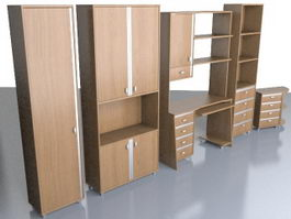Office furniture filing cabinet sets 3d preview