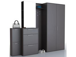 Metal office file cabinet set 3d preview
