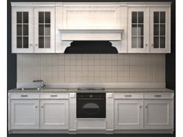 Classic wood kitchen cabinet 3d preview