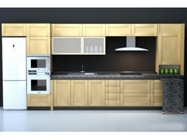 Integrated modern kitchen cabinet 3d model preview