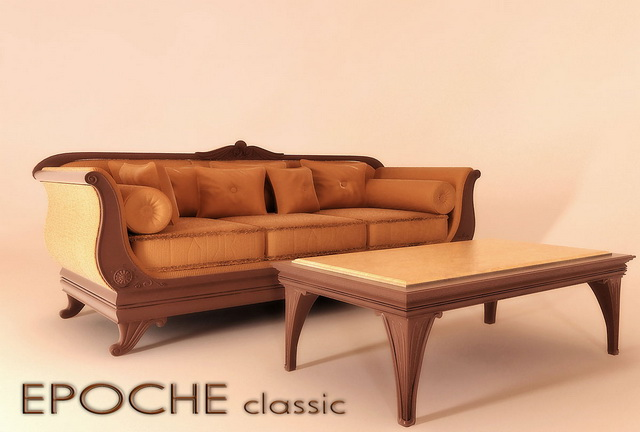 Classic Divan Sofa And Coffee Table Model