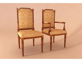 French classic banquet chair 3d preview
