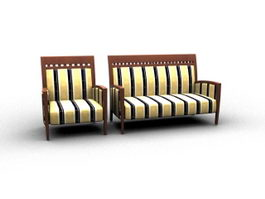 Wooden settee sofa 3d preview