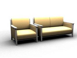 Modern wooden settee 3d preview
