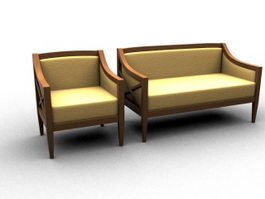 Upholstered settee couch 3d preview