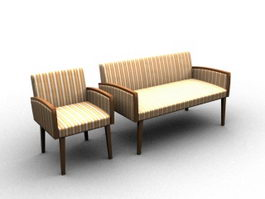Settee and sofa 3d model preview