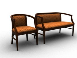 Wooden furniture sofa settee 3d preview