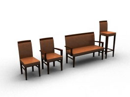 Wooden chair sets 3d preview