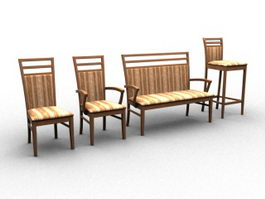 Wood chair furniture set 3d preview