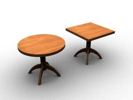 Wood coffee table set 3d preview