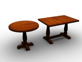 Wooden coffee table and tea table set 3d preview