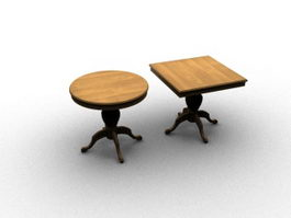 Antique carving coffee table sets 3d preview